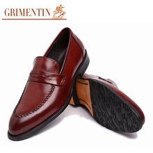 GRIMENTIN Luxury classic loafers men shoes genuine leather black slip on basic flats for mens casual shoes men flats