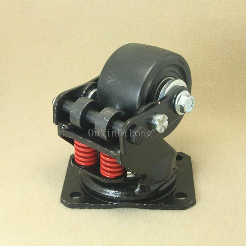 4 pièces roue universelle d'amortissement silencieuse de 3 pouces avec roulette antisismique à ressort pour roulettes industrielles de porte d'équipement lourd JF1862 - 3