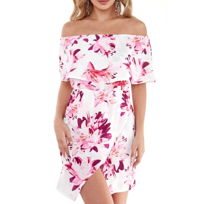 Plus Size 3XL Floral Print Off Shoulder Tiered Dress Sexy Front Split Bodycon Mini Dress Ladies Slash neck Dresses KH844519
