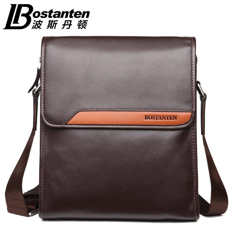ФОТО Bostanten 2016 Brand Genuine Leather Men Messenger Business Casual Shoulder Bag Document Purses Phone Crossbody Bags