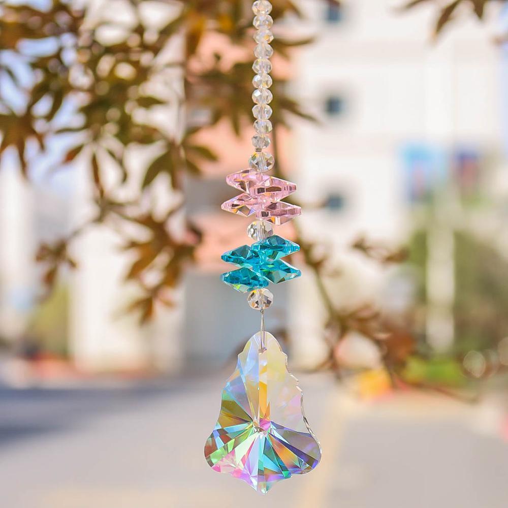 H&D Chandelier Crystal Maple Leaf Suncatcher Rainbow Maker Window Sun Catcher Ornament Fengshui Hanging Pendant For Home Wedding