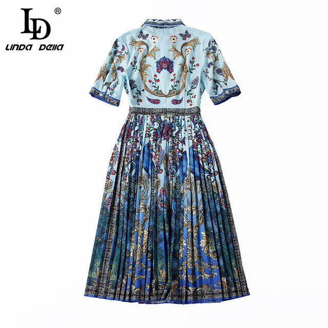Summer Dress Bow Collar Animal Floral Print Pleated Vintage Dress