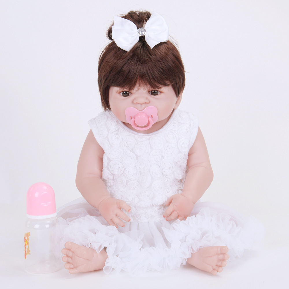 55cm Full Silicone Vinyl Newborn Baby Doll Lifelike Reborn Princess Girl Doll for Kids Toy Birthday Xmas Gift Bebe 55cm victoria soft vinyl reborn baby dolls in pink dress 22 inch full vinyl newborn bebe reborn doll princess girl birthday gift