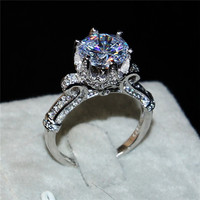 Silod 925 Sterling Silver Jewelry Brand Engagement Wedding Rings Flower Crown Design 3ct Diamant Level Stone