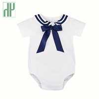 Baby Clothes Fashion Summer Short Sleeve Sailor Suit Newborn Baby Romper Suit Kids Boys Girls Rompers