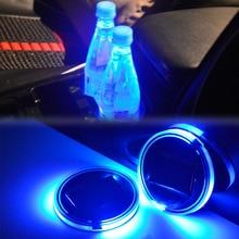 Solare LED Supporto di Tazza Auto Zerbino HA CONDOTTO LA Luce Auto Supporto di Tazza di Zerbino Anti Rilievo di Slittamento Bottiglia di Bevande Sottobicchiere Zerbino Luce sensore di Auto Styling Blu