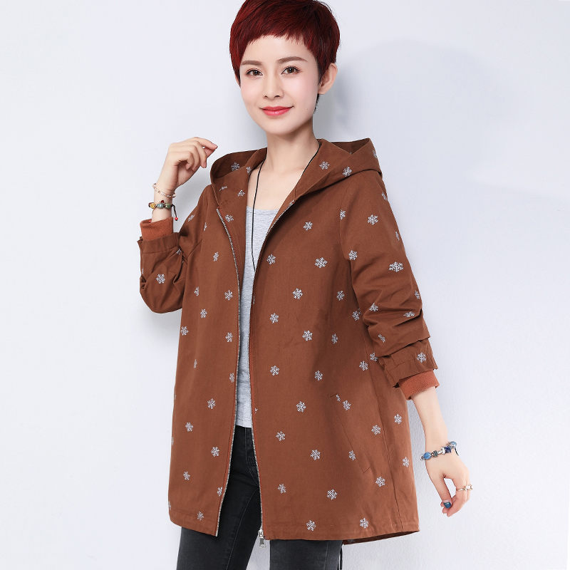 Female   Trench   Coat Spring Autumn 2019 New Middle-aged Mother Loose Hooded Zipper Printed Women Oversized Windbreaker LQ661