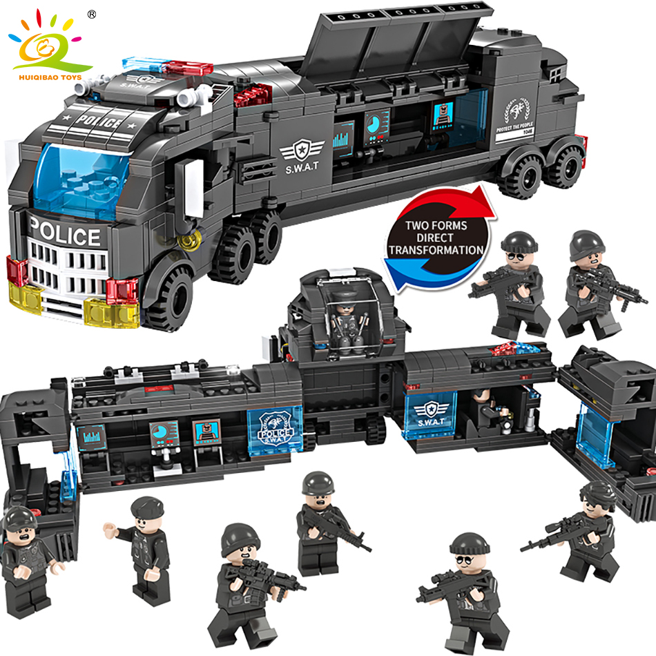 706pcs 8in1 Military Swat Command Vehicle Building Blocks Compatible Legoed City Police Figures Weapon Trucks Toys For Children кроватка трансформер фея 1100 белая лайм