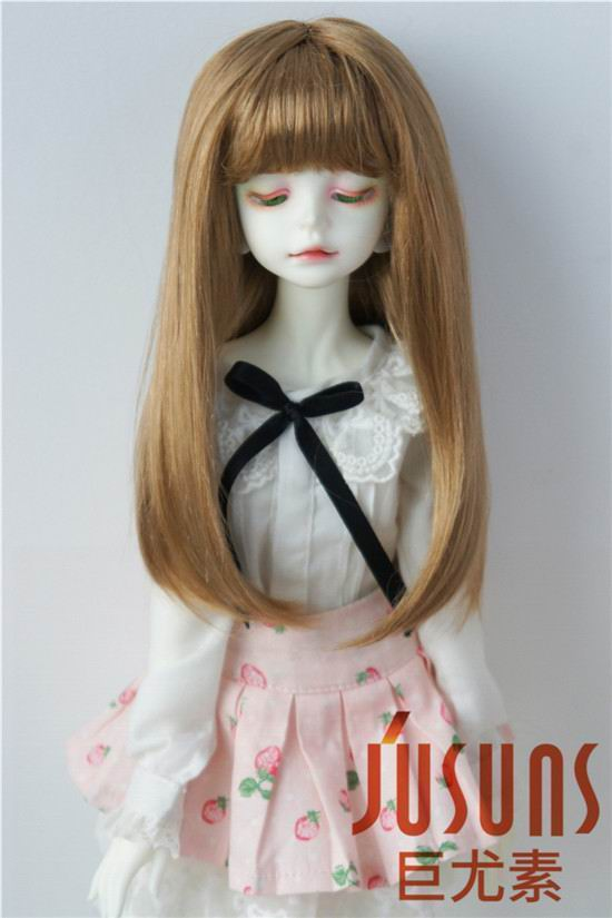JD371 18-20CM 7-8inch  Doll wigs MSD 1/4 Synthetic mohair doll wigs  Long hair with full bang BJD wig long bob wigs with bangs cheap synthetic wigs for black women artificial hair look as real pruiken synthetische sentetik peruk