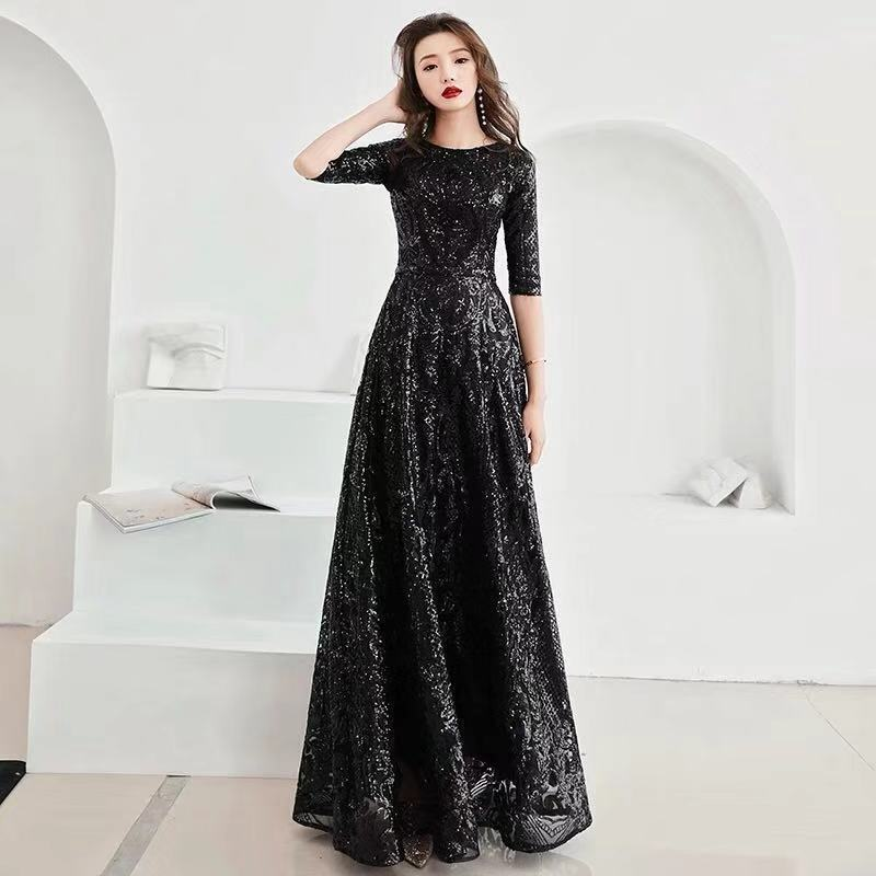 A-line Evening Dress Black Sequins Shining O-neck Half Sleeve Formal Prom Dress Women Vintage Floor-length Long Party Gown E091