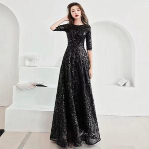 Image 1 - A line gece elbisesi siyah Sequins Shining o boyun yarım kollu resmi balo elbise kadınlar Vintage kat uzunlukta uzun parti elbise e091