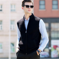 2018 100%Merino Wool Vest Coat Men Turtleneck Sleeveless Cardigan Men Winter Thick Warm Cashmere Sweater Men Brand