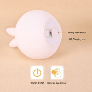 Image 4 - Cute Rabbit Silicone LED Night Light USB Rechargeable Baby Bedroom Night Lamp Touch Sensor Light for Children Baby Gift