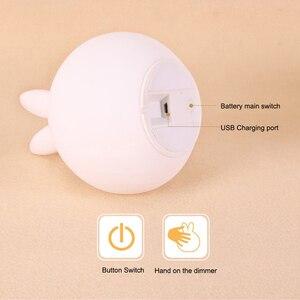 Image 4 - かわいいウサギのシリコーンledナイトライトusb充電式ベビー寝室の夜のランプタッチセンサー子供ベビーギフト