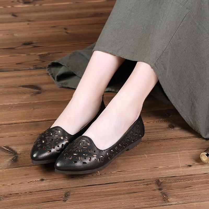 2017 Summer Women Black Flats Hollow Out Designer Ladies Slip On Flats Pointed Toe Handmade Women Leather Shoes Red Shallow Flat enmayer pointed toe summer shallow flats slip on luxury brand shoes women plus size 35 46 beige black flats shoe womens