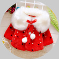 Autumn and winter baby plush cloak girls princess little jacket new girls Christmas T-shirt