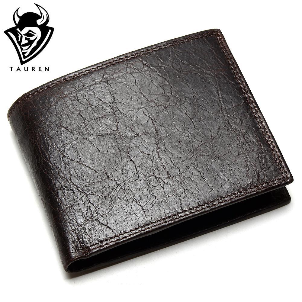 TAUREN 2018 New Men Wallet 100% Genuine Leather Crazy Horse Zippper Coin Pocket Top Grain Cow Leather Wallet Men tauren 100