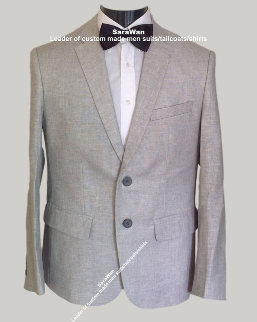 Men Linen Suits For Weddings Custom Made Light Grey Linen Tuxedo ...