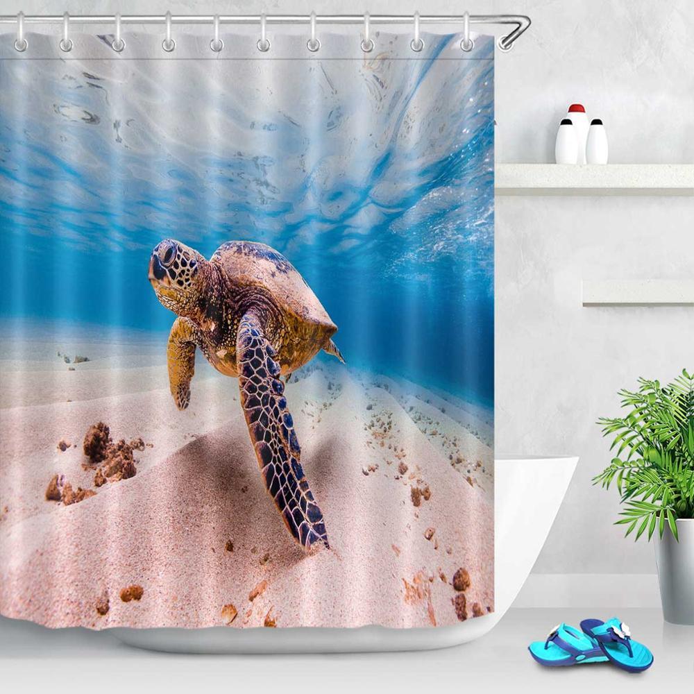 Fanny Green Turtles Graffiti Shower Curtain Waterproof Fabric Bathroom Mat Hooks