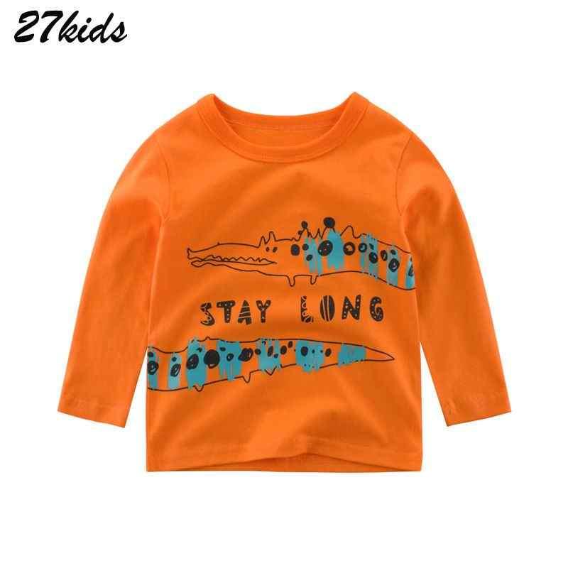 27, Детская футболка с длинными рукавами и рисунком динозавра для мальчиков 2-9 лет Весенние футболки для мальчиков, детская одежда полной длины хлопковый топ