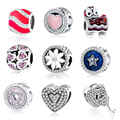2017 Valentine's Day Fit Original Pandora Charms Bracelet DIY Jewelry 925 Sterling Silver Beads Padlock/Apple/Heart/Star Charms