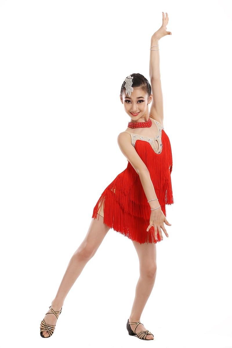 Women Girls Tassel Drancewear Tango Ballroom Salsa Latin Dance Dress with Party Costume Tassel Dresses