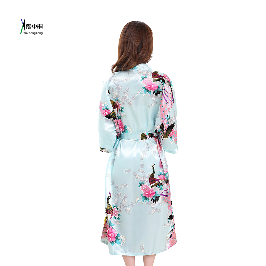 50% off 2019 best special discount of US $10.27 45% OFF|Baby Blue Lady's Wedding Bride Bridesmaid Robe Floral  Bathrobe Kimono Night Bath Robe Fashion Dressing Gown For Women 010426-in  ...