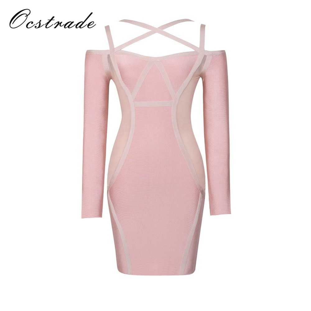 Ocstrade Womens Bandage Sexy Dresses New Arrival 2017 Pink Halter Neck Mesh Long Sleeve Bodycon Dress