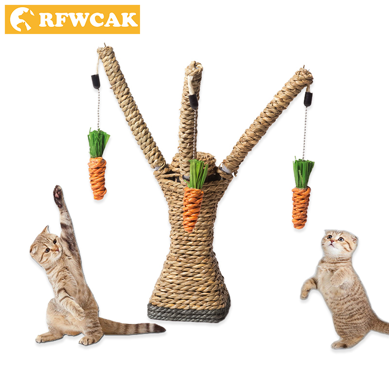 Gato Brinquedos Interativos RFWCAK Tree Tower Prateleiras Quadro de Escalada Corda de Sisal Gato Arranhando Post Que Joga o Brinquedo Proteger Os Móveis