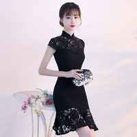 Traditional Chinese Dress Qipao Ladies Evening Dresses Vintage Cheongsam Women Bride Short Black Lace Cheongsam Modern Dress