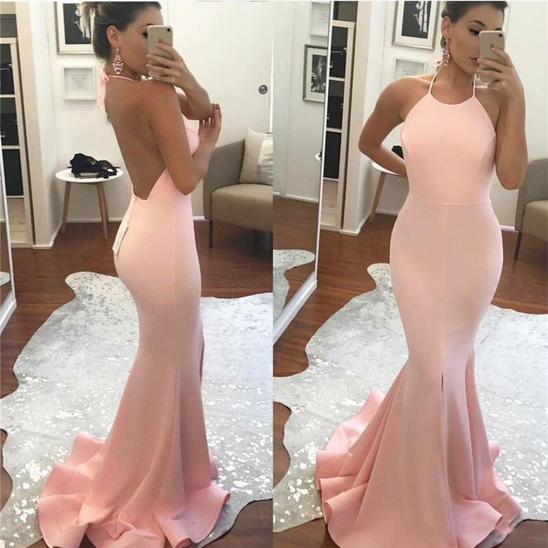 Nouveau Design Blush rose sirène robes de bal dos nu plis Long balayage Train robes de soirée sur mesure