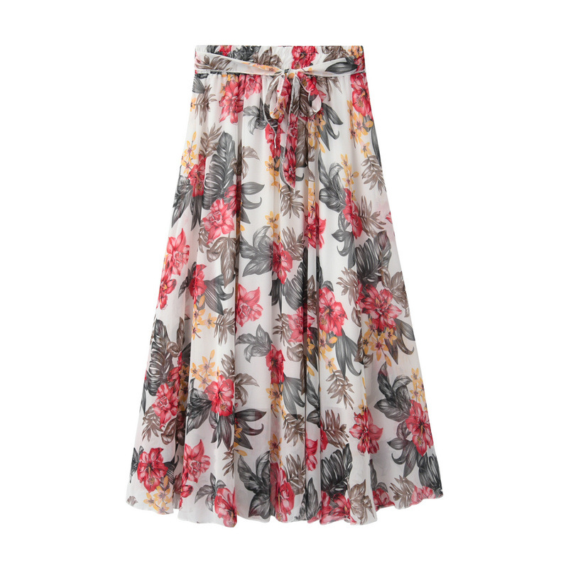 184dbd2346 8281 skirts skirt women's girls new summer lace floral chiffon skirt long  section of printing big fair fairy beach female-in Skirts from Women's  Clothing ...