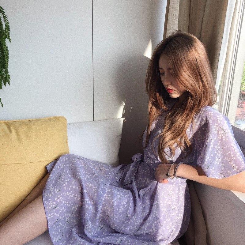 PLUS ขนาดใหม่ฤดูร้อน Boho ชีฟองหญิง VINTAGE สีม่วงพิมพ์เสื้อ \ \ \ \ \ \ \ \ \ \ \ \ \ \ \ \ \ Robe Vestido