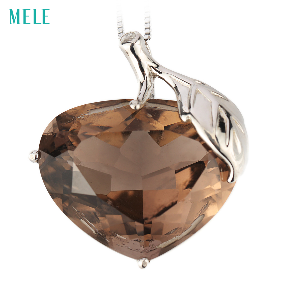 MELE Natural smoky quarts silver pendant, big main stone in 20mm*26mm, deep color and professional cutting, fine jewelry