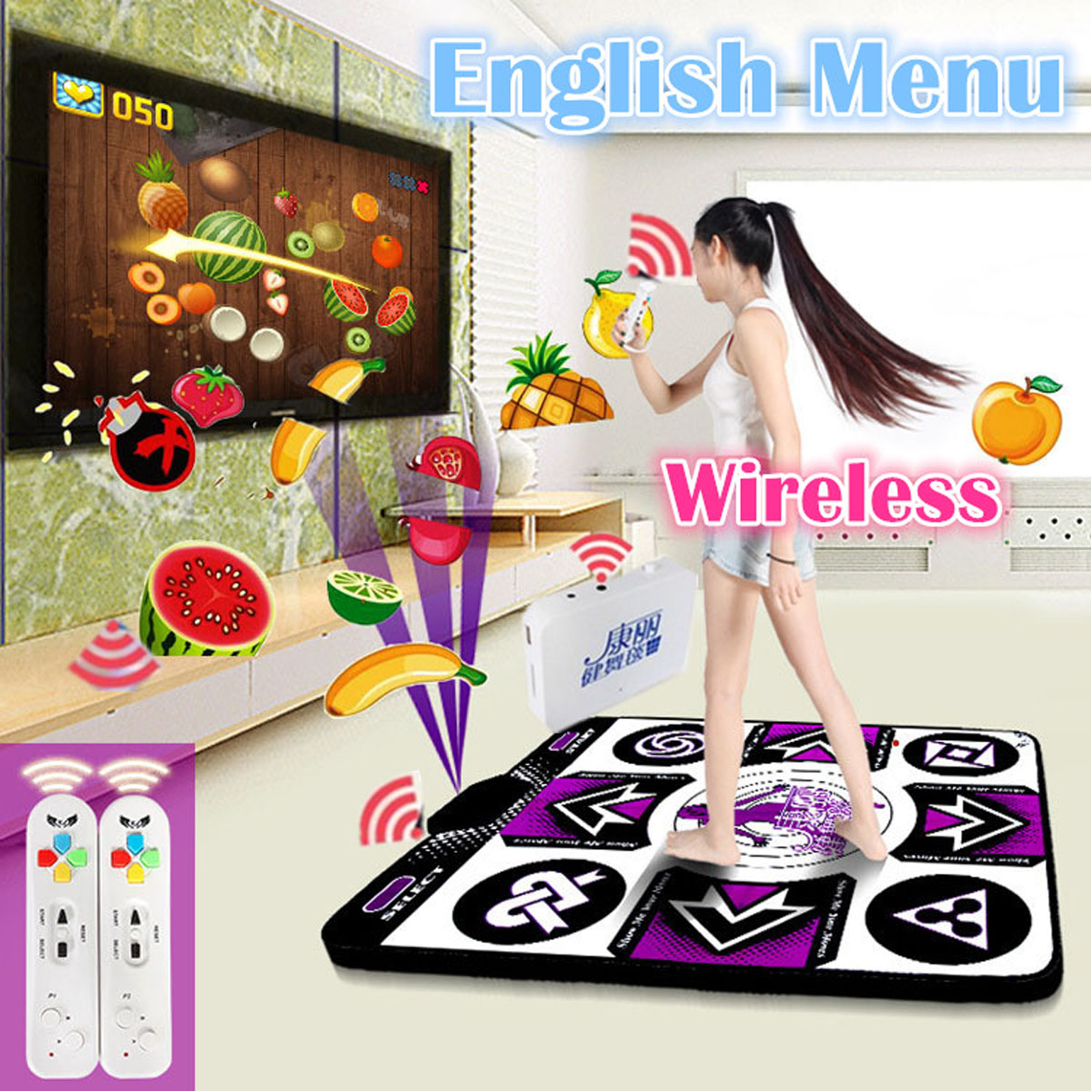 D'origine KL Anglais menu 11mm épaisseur simple tapis de danse Non-Slip pad yoga tapis + 2 télécommande sens jeu pour PC et TV