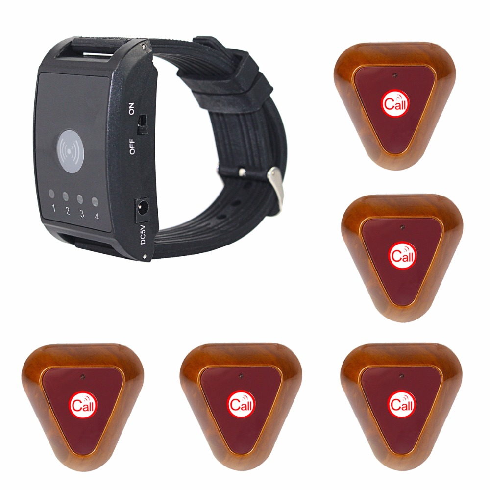 433MHz 4 Channel Wireless Paging Calling System 1 Watch Pager+5 Call Button Restaurant Pager Equipment F4411A wireless buzzer calling system new good fashion restaurant guest caller paging equipment 1 display 7 call button