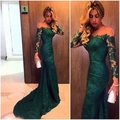 Robe de soiree 2016 Dark Green Mermaid Lace Long Evening dresses Long Sleeve Scoop Neck Prom Gown Formal Dress Vestidos de noite