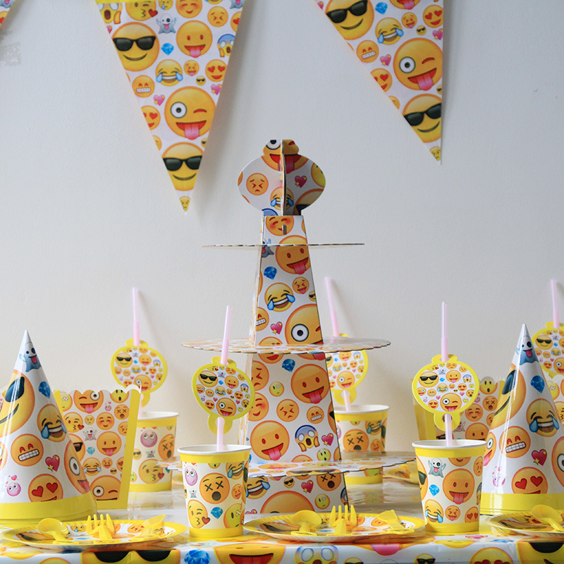 149pcs lot Emoji Smile Cry Kids Birthday Decoration Set Theme Party Supplies Baby Birthday Party Pack