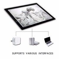 Caja Pad Junta de Redacción Dibujo Copia A3 LLEVÓ La Luz portátil Tableta gráfica Tabla Pad Pad Panel Copia Bordo con Brillo Control
