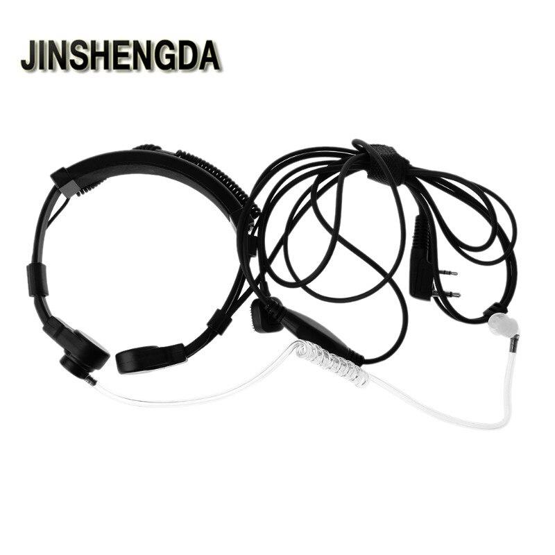 JINSHENGDA Microphone 2-Pin PTT Throat Microphone Earpiece Mic For Baofeng UV5R Radio