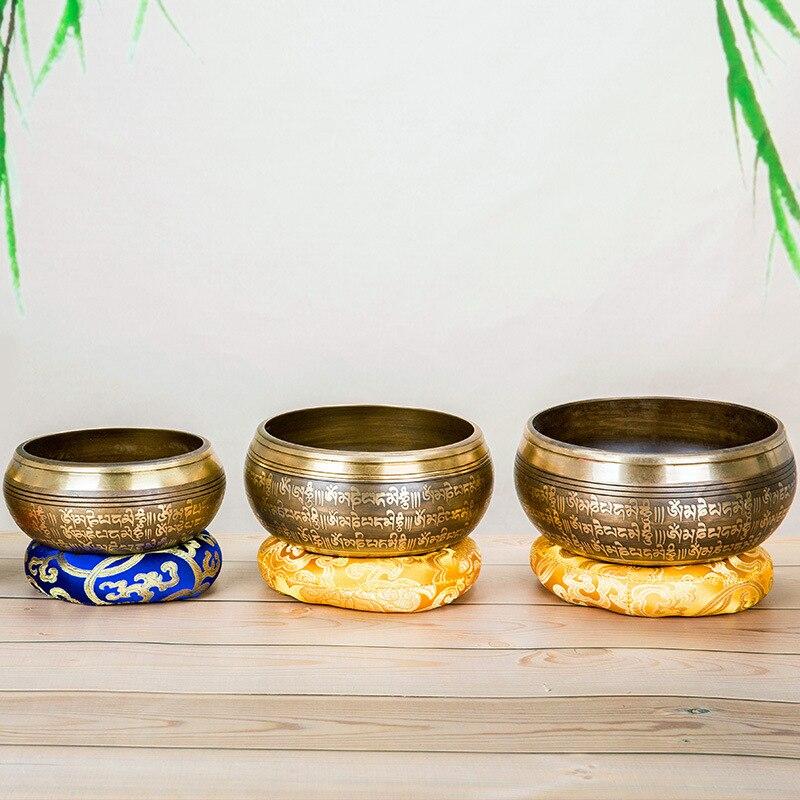 Tibetan Singing Bowl Mat Hand Hammered Yoga Singing Meditation Bowl Mat Buddhism Gift Home Decorative Crafts