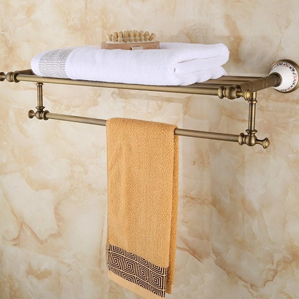 Bathroom Sinks,faucets & Accessories Intelligent Towel Rack Antique Pendant European Shelf Copper Hardware Black Bathroom Bronze 1 Layer Perforated Copper Towel Rack