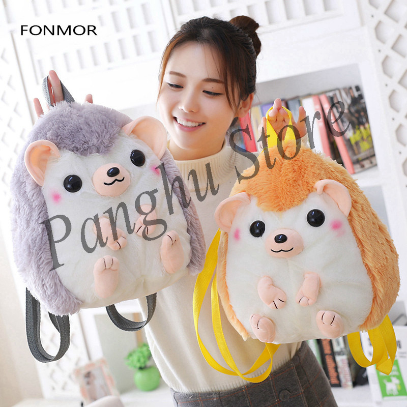 30 * 28cm Cute Hedgehog Plush Doll Kawaii Animal Backpack Stuffing Toya Kids School Backpack Gift Kids Toy For Girl