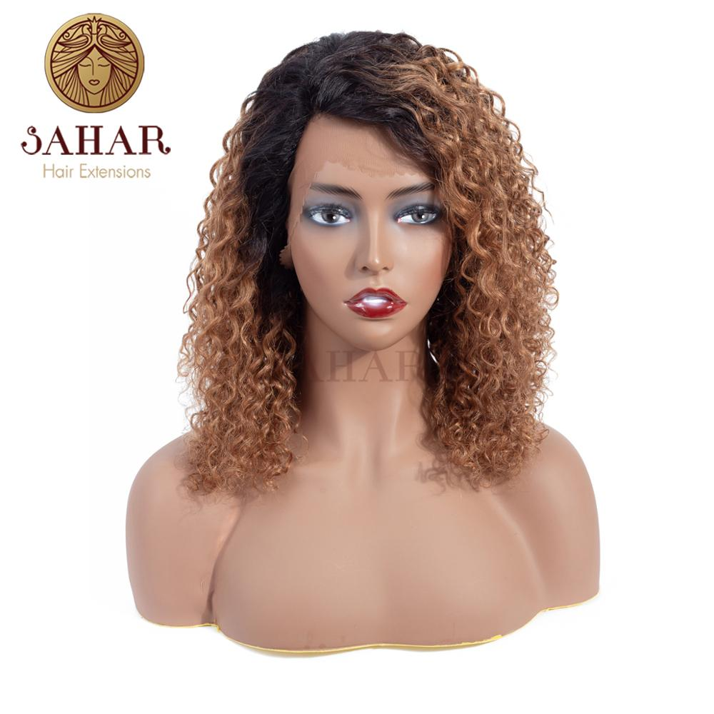 SAHAR Honey Blonde Color Extensions Brazilian Water Wave Remy Hair L-shape Lace Front Wig 100% Human Hair Piece Wig