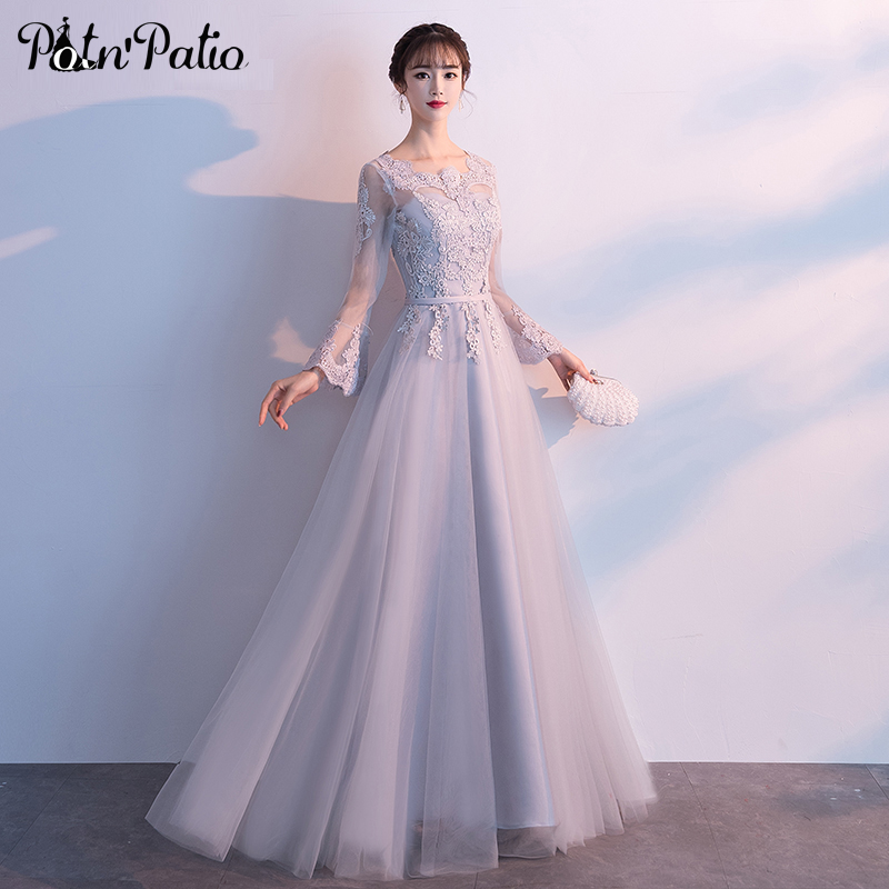 Gray Long Sleeve   Prom     Dresses   2019 Elegant O-neck A-line Floor-Length Luxury Appliques Tulle Women Evening Gowns Plus Size