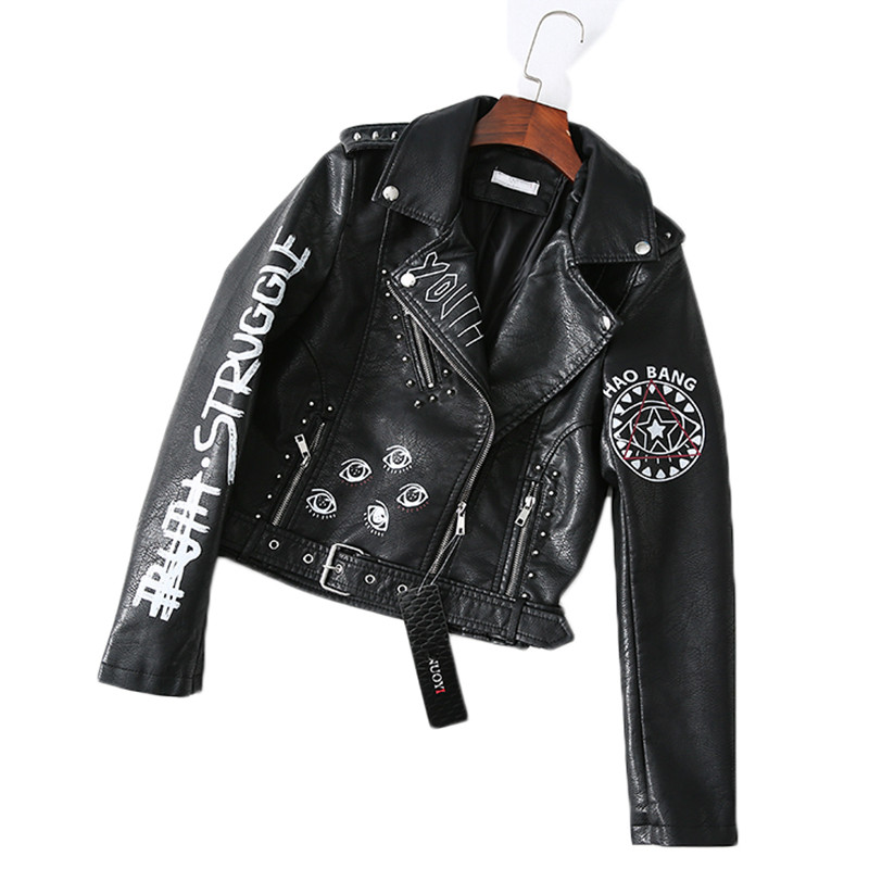 2019 Spring Autumn Faux   Leather   Jacket Women Slim Short Printed Letters Rivet Motorcycle Pu Coat Female Casual Clothing Black