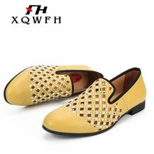 XQWFH New Style Men Shoes Summer Mens Hollow Sandals Breathable Business Casual