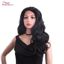 24inch Body Wave Lace Front Wig Synthetic Hair Ombre Grey Synthetic Wigs Long Black Wig for Women Golden Beauty стоимость