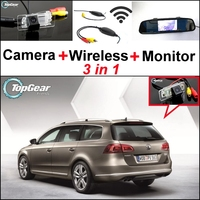 3 In1 Special Rear View Camera Wireless Receiver Mirror Monitor Back Up Parking System For Volkswagen