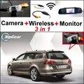 3 in1 Especial Cámara de Visión Trasera + Receptor Inalámbrico + Espejo monitor de copia de seguridad de sistema de aparcamiento para volkswagen vw passat b7 wagon